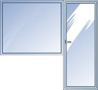 Балконный блок: глухое окно с дверью